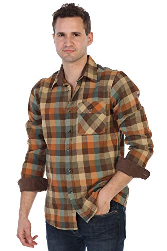 Gioberti Men's 100% Cotton Brushed Flannel Plaid Checkered Shirt with Corduroy Contrast, Orange/Khaki/Teal, ()
