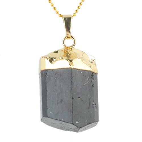 rockcloud Black Tourmeline Tumbled Stone Pendant Rregular Fit - Fahion Fair