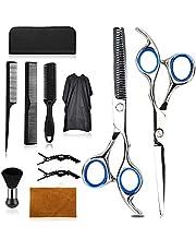Wrei Haar Snijschaar Kits, RVS Kappers Schaar Kits, Kapper schaar, clips, professionele kapper sets met kapper jas en scheermes kam (blauw)