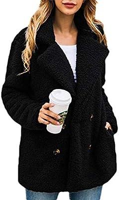 ZXFHZS Womens Fuzzy Fleece Lapel Open Front Cardigan Coat Outwear Jackets