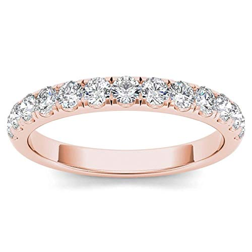(De Couer IGI Certified14k Rose Gold 1/2ct TDW Diamond Wedding Band (I-J, I2))