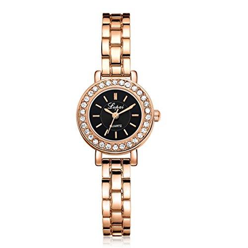 Lukalook Quartz Watch Faux Diamond Dial Plate Women's Lady's Golden/Siver Wrist Watch (Gold Plate Diamond Watch)