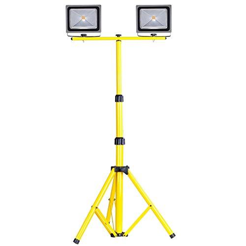 Set of 2pcs 50W LED Flood Light + Tripod Stand + T-Bar | Outdoor Factory Construction Emergency Lighting Security Stable LED Flood Light Spotlight (University Neon Lamp)