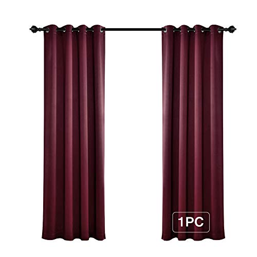 MYSKY HOME Solid Grommet top Thermal Insulated Window Blackout Curtains for Living Room, 52 x 84 Inch, Burgundy Red, Single Panel (Curtains Cranberry)