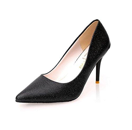 LBDX Zapatos de Tacón Alto con Puntera EN Primavera y Otoño Thin Heel Korean Version Nightclub 9.5cm Negro