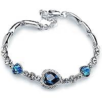 LYNN&Co The Heart of Ocean Pulseras Plata Elementos de Swarovski Mujer Cristal Corazón