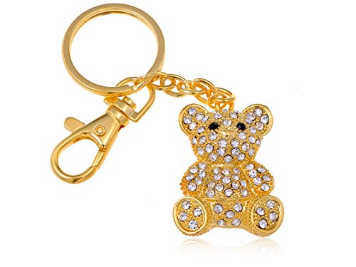 Alilang Womens Golden Tone Clear Rhinestones Teddy Bear Key Chain ()