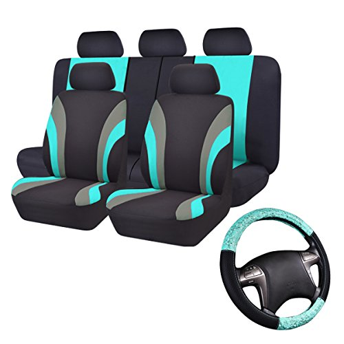 CAR PASS Universal Fit Car Seat Cover with Steering Wheel Cover Included,Airbag Compatible,Zippers Design (Black and Mint Blue)
