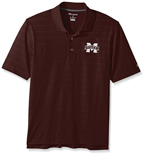 Champion NCAA Mississippi State Bulldogs Men's Textured Solid Polo, Medium, (Mississippi State Golf Gear)