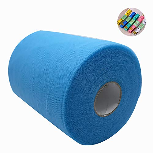- Saim Tulle Rolls 6 Inch x 100 Yards (300 Feet) Tulle Fabric Spool Table Tutu Skirt Dress Chair Sash Bow Decoration with Body Measuring Ruler for Wedding Party Festival DIY Craft Gift Ribbon (Blue)