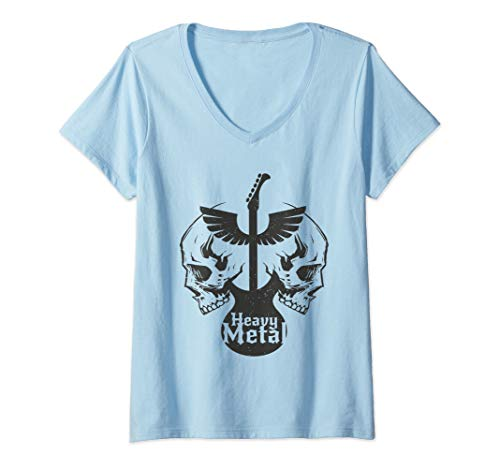 Womens Heavy Metal Flying Guitars With Skulls Rock Gift T Shirt V-Neck T-Shirt