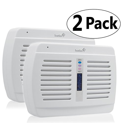 Ivation Reusable Silica Gel Wireless Mini Dehumidifier 2-Pack - Suited for Smaller Rooms, Walk-In Closets, Boats, RVs, Gym Lockers & Gun Safes