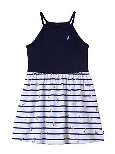 - Nautica Girls' Little' Spaghetti Strap Fashion Dress, Navy foil Palm Tree, 5