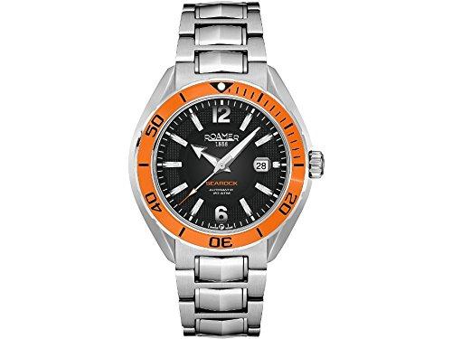 Roamer Searock Pro Men's Automatic Watch with Black Dial Analogue Display and Silver Stainless Steel Bracelet 211633 41 04 20
