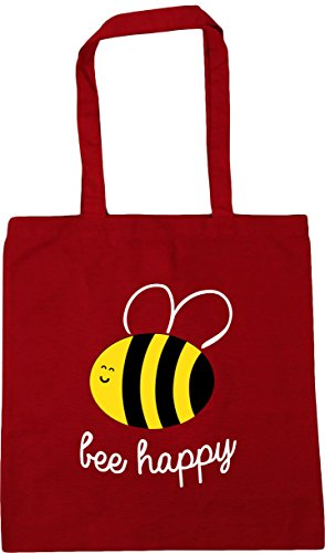 HippoWarehouse Bee Happy Tote Shopping Gym Beach Bag 42cm x38cm, 10 litres Classic Red