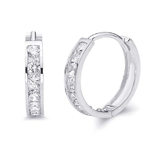 14k REAL White Gold 3mm Thickness CZ Channel Set Hoop Huggie Earrings (17 x 17 mm)
