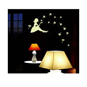 Glow in the Dark Luminous Beautiful Girl and Romantic Dandelion Wall Decals Stickers Home Art Decor Wall Decorative for Babys Bedroom