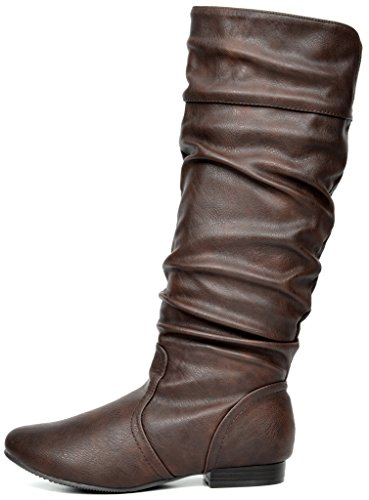 PAIRS Calf High Flat Brown wide DREAM Knee Women's Boots A1HqUd4w