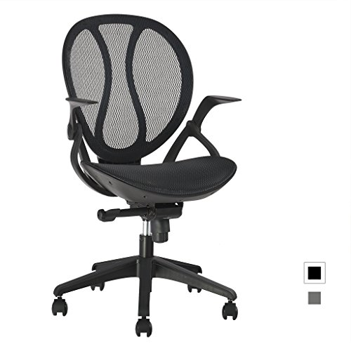 Adjustable Swivel Office Chair (LANGRIA Mid-Back Mesh Computer Desk Chair Executive Adjustable Swivel Office Chair Ergonomic Design, Adjustable Height and Armrests Cotton Padded Seat,LROC-088BK, Black)