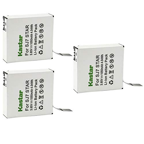 Kastar 3 Pack Battery Compatible with SJCAM SJ7 Star SJCAM SJ7B Battery and Charger, SJCAM SJ7 Star 4K Ultra HD Action Camera, SJCAM SJ7 Star Sport Camera