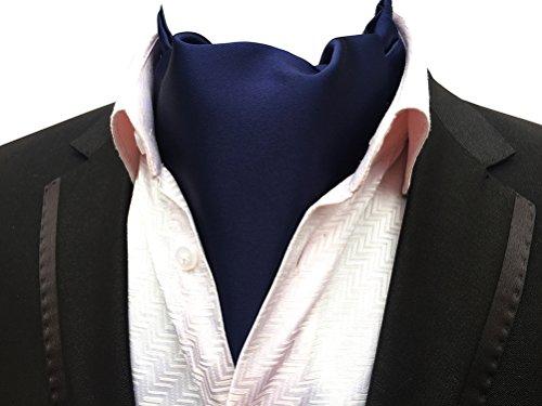 Necktie Silk Pleated (MOHSLEE Men's Navy Blue Silk Cravat Tie Jacquard Woven Self Fancy Ascot Neckties)