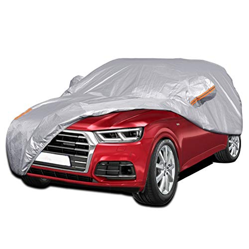 Color Rain Time Outdoor SUV Car Cover UV Protection Waterproof Windproof Dustproof Scratch Resistant Fits SUV 4XL (Silver, 189