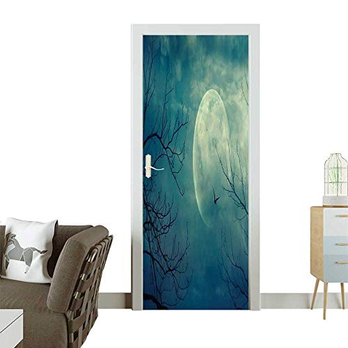 Door Sticker Wall Decals Halloween Full Mo in and Dead Tree Branch Evil Haunted Blue Easy to Peel and StickW36 x H79 INCH -