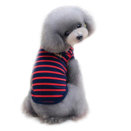 Cheap 2017 Hot Pet Vest! AMA(TM) Pet Small Dog Cat Puppy Spring Summer Stripe Vest Shirt Doggy Clothes Apparel (S, Red)