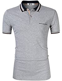 Men's Casual Slim Fit Stripe Collar Short Sleeve Solid Polo Shirts