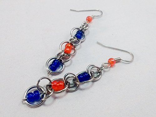 Team Colors Chainmaille Earrings Blue and Orange