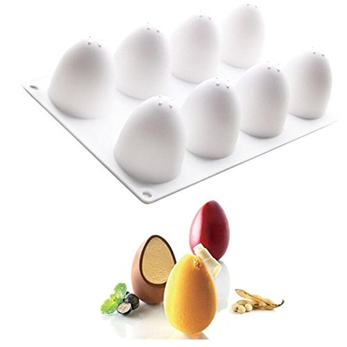 - 8 Holes 3D Easter Eggs Silicone Molds Cake Decorating Tools Bakeware French Dessert Mousse Cake Mold Baking Cupcake Silicone Mousse Mold