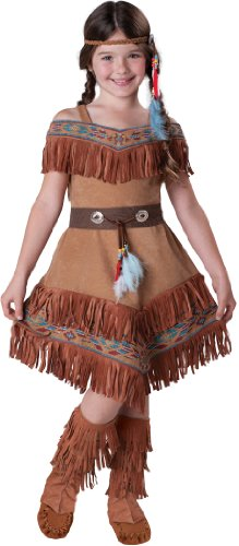 InCharacter Costumes Girl's Maiden Costume, Tan, (Child Indian Princess Halloween Costume)