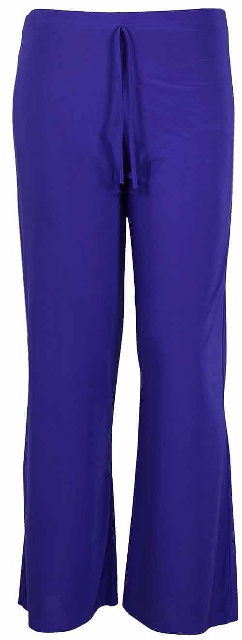 Purple Hanger Nuovo da Donna Tinta Unita Gamba Larga Casual Pantaloni da Donna Stretch Fit Tie Trim Palazzo Pantaloni Plus Dimensioni