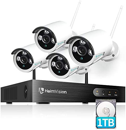 HeimVision HM241A 1080P Wireless Security Camera System with 1TB Hard Drive, 8CH NVR 4Pcs Outdoor WiFi Surveillance Camera with Night Vision, Waterproof, Motion Alert, Remote Access - White