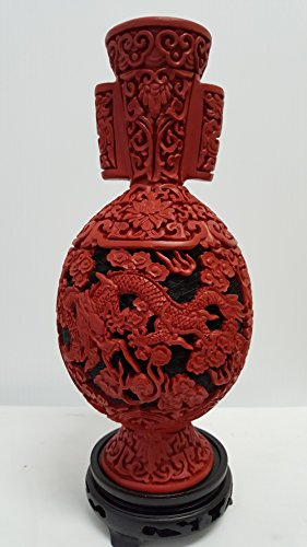 Large Cinnabar Dragon Vase with Round Handles - Limited Quantity by Feng Shui Master (Image #2)'
