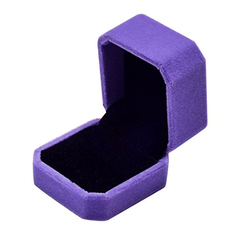 Goodtrade8 Rring Box,Fashion Velvet Engagement Wedding Earring Ring Pendant Jewelry Display Box Gift (Purple)