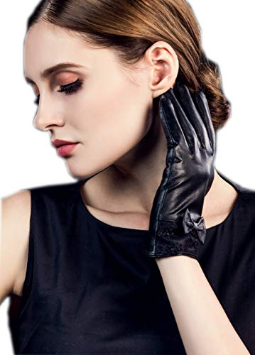 YISEVEN Women's Sheepskin Winter Genuine Leather Gloves Dress Lace Bow Cuff Warm Lined Touchscreen Heated Driving Work Ladies Cold Weather Luxury Elegant Xmas Gifts, Black 7.0