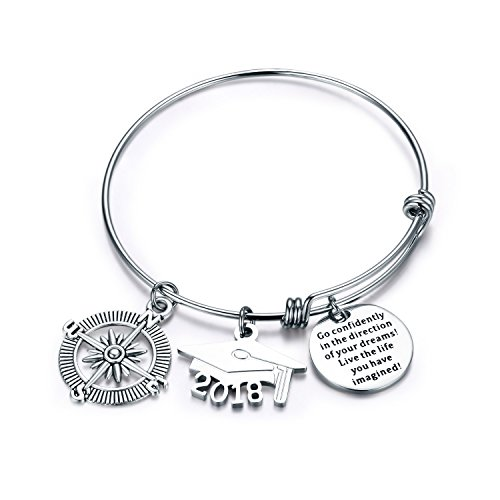 CJ&M Graduation Bangle Jewelry Stainless Steel 2018 Go Confidently in the Direction of Your Dreams Live the Life You Have Imagined Bangle Bracelet Graduation Gift