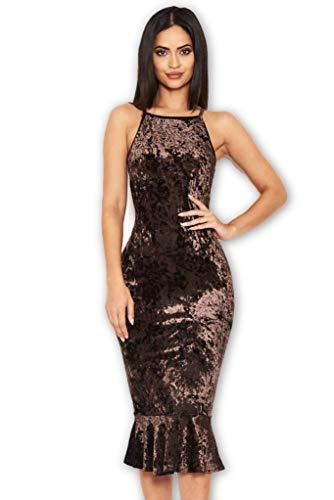 AX Paris Women's Velvet Fishtail Dress(Chocolate, Size:4) ()