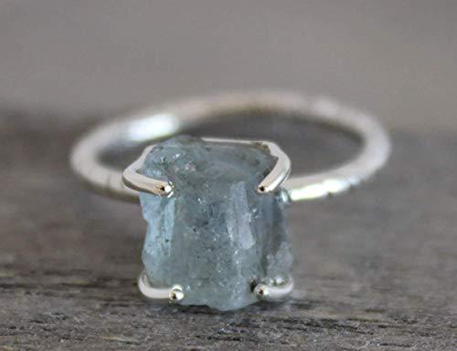 Raw Aquamarine Gemstone Sterling Silver Ring, size 6
