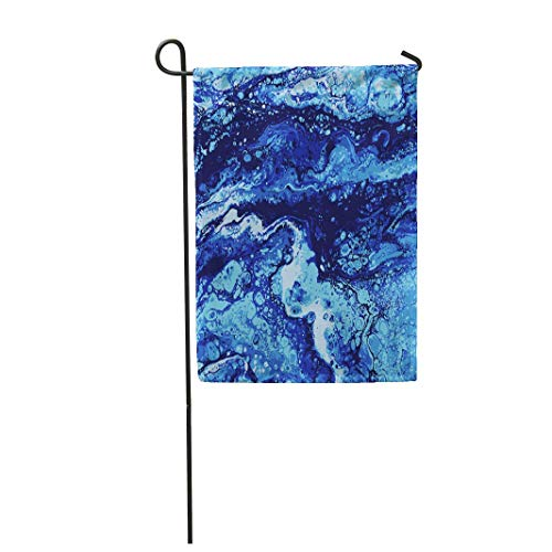 "Tarolo Decoration Flag Ocean Liguid Watercolor and Ink Abstract Colored Painting Wet Panted Blue Color Acryl Aqua Thick Fabric Double Sided Home Garden Flag 12"" W x 18"" H"