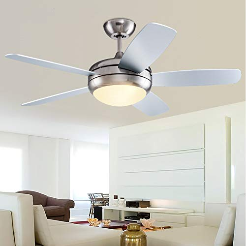 "Fandian 52"" Modern Chrome Ceiling Fan with Light Remote Control LED Chandelier 3 Speeds 3 Color Changes 5 Wood Blades Lighting fixture,Silent Motor With LED Bulbs ()"