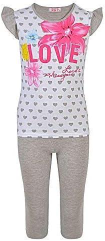 LOTMART Girls T-Shirt and Leggings Set 2 Piece Casual Suit