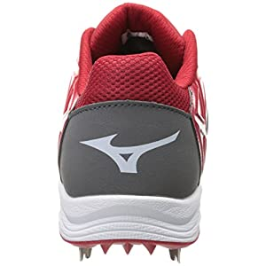 Mizuno Usa Mens Men's 9-Spike ADV Swagger Baseball Cleat,Grey/Red,11 D US