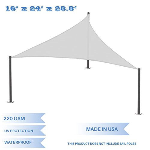 E K Sunrise 16 x 24 x 28.8 Waterproof Sun Shade Sail -Light Grey Right Triangle UV Block Durable Awning Perfect for Canopy Outdoor Garden Backyard-Customized