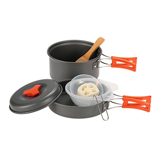 TOMSHOO Outdoor Camping Hiking Cookware Backpacking Cooking Picnic Pot Set Cook Set