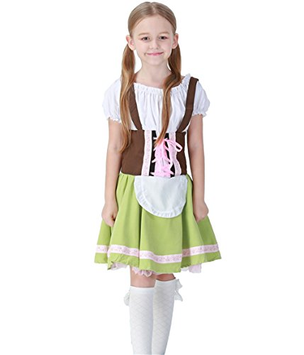Bavarian Girl Costume,German Bavarian Children Dirndl Dress for Oktoberfest Halloween Carnival, Cosplay,Christmas (M, Green)