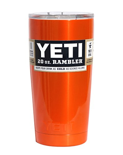 YETI Coolers Custom Powder Coated Insulated Stainless Steel 20 Ounce (20 oz) (20oz) Rambler Tumbler with Lid (Orange Shimmer)