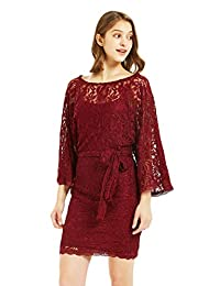 SUNDAY ROSE Women Lace Cocktail Party Dresses Formal Work Dresses 3/4 Sleeve