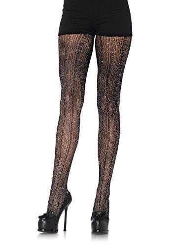 Leg Avenue Women's Spandex Crocheted Striped Lurex Pantyhose, Black/Silver, One (Lurex Pantyhose)
